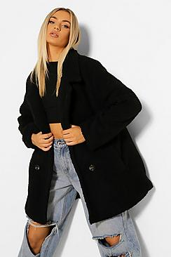 Double Breasted Faux Teddy Fur Coat