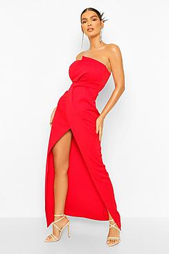 Bandeau Wrap Detail Split Maxi Dress