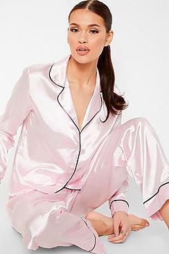 Contrast Piping Button Down Satin Pyjama Set