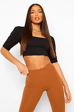 Tall Cotton Square Neck Puff Sleeve Top