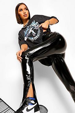 High Waist Extra Long Vinyl Split Hem Trouser