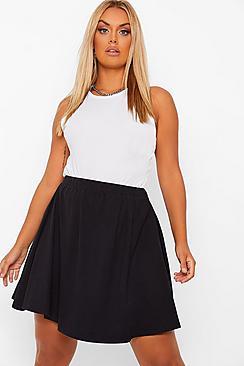 Plus Cotton Basic Mini Skater Skirt