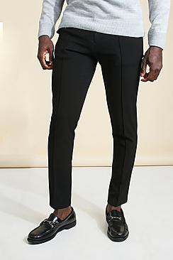 Skinny Plain Tapered Smart Trouser With Pintuck