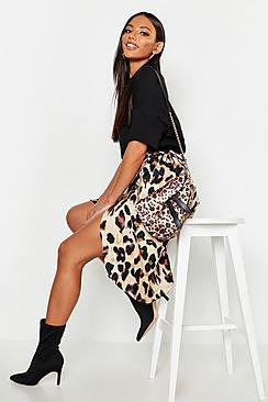Leopard Print Satin Wrap Midi Skirt