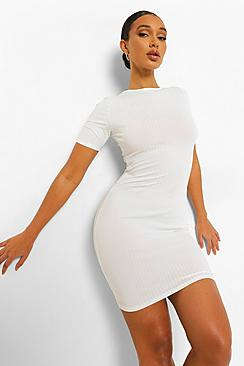 Rib Short Sleeve  Bodycon Mini Dress
