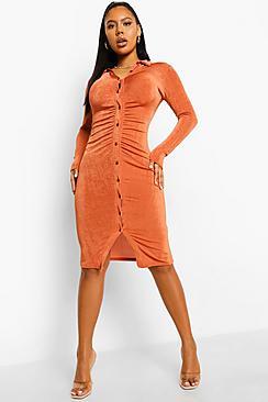 Textured Slinky Gathered Midi Shirt Dress