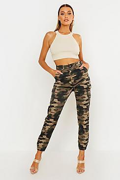 Camo Print Elasticated Hem Cargo Trousers