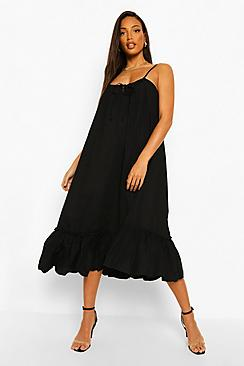 Tall Cotton Poplin Pocket Detail Midi Dress