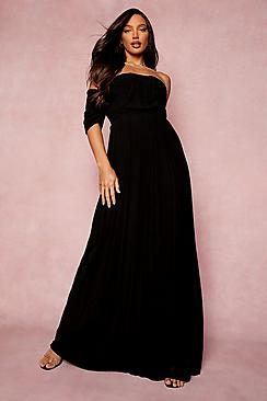 Tall Pleated Bardot Maxi Bridesmaid Dress