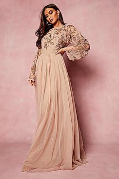 Bridesmaid Hand Embellished Long Sleeve Maxi Dress
