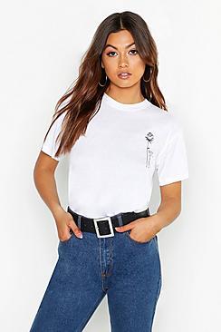 Rose Pocket Print Slogan T-Shirt