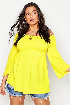 Plus Shirred Off Shoulder Smock Top