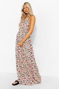 Tall Floral Plunge Front Maxi Dress
