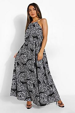 Petite Paisley Print Halter Maxi Dress