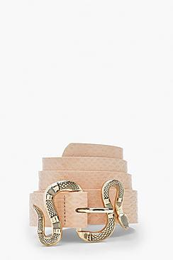 Snake Buckle Croc Pu Belt