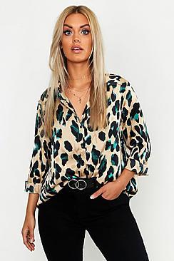 Plus Satin Leopard Shirt