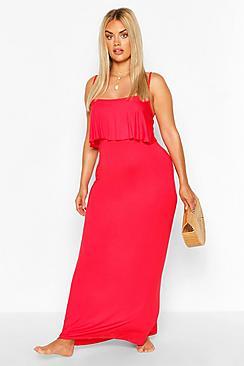 Plus Double Layer Strappy Maxi Dress