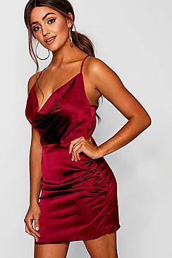 Florence Satin Cowl Neck Bodycon Dress