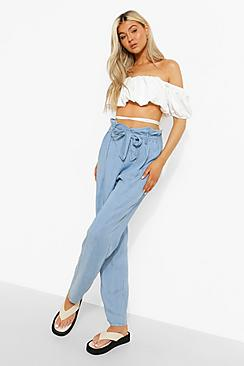 Tall Belted Pleat Front Denim Cropped Trouser