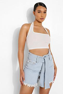 Tie Waist Fray Hem Denim Shorts