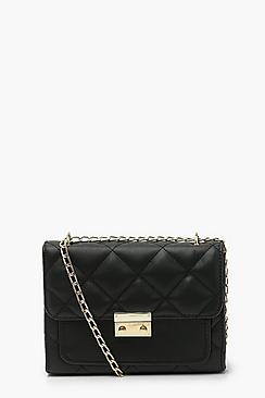 Quilted Chain Strap Cross Body Bag