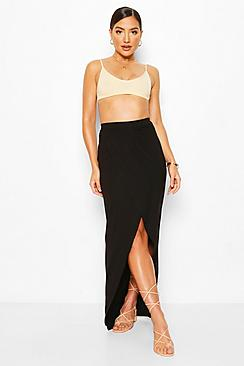 Jersey Ruched Front Split Side Maxi Skirt