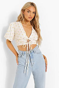 Floral Tie Front Woven Top