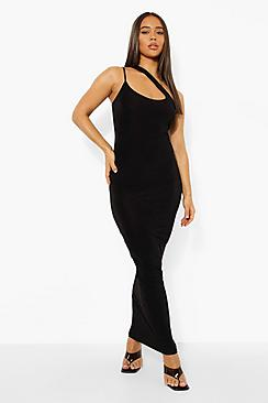Slinky One Shoulder Cut Out Maxi Dress