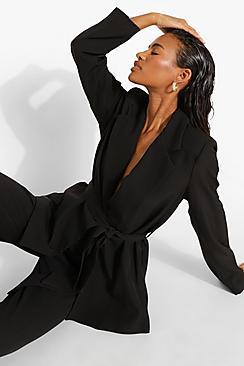 Tie Waist Tailored Fitted Blazer