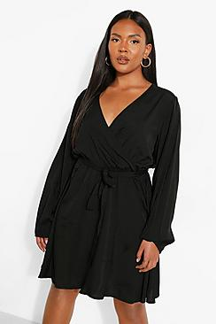 Plus Wrap Front Frill Long Sleeve Dress