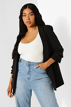Plus Stretch Woven Ruched Sleeve Blazer