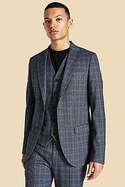 Tall Slim Check Single Breasted Suit Jacket