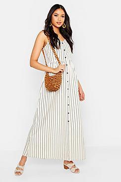 Tall Stripe Button Up Pocket Maxi Dress