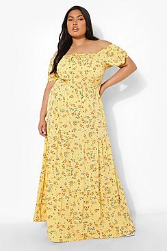Plus Off Shoulder Floral Tiered Maxi Dress