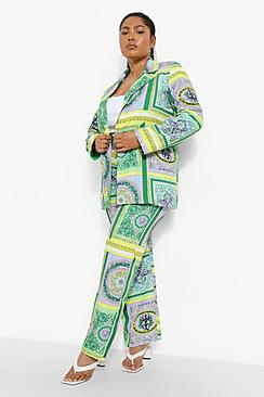 Plus Scarf Print Trousers