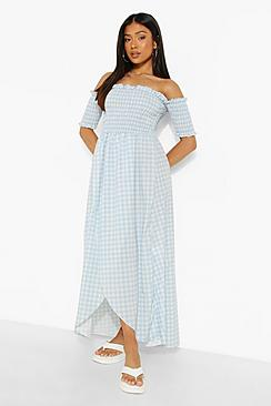 Petite Gingham Shirred Wrap Front Maxi Dress