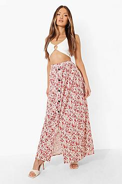 Button Front Ditsy Floral Maxi Skirt