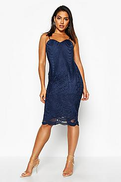 Boutique Mesh Panelled Strappy Midi Dress