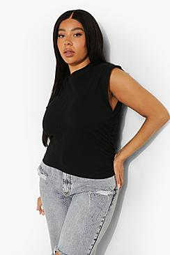 Plus Ruched Side Sleeveless T-shirt