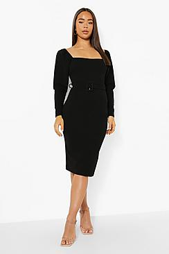 Square Neck Puff Sleeve Belted Midi Dress