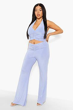 Plus Ruched Halter Trouser Co-ord
