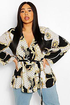 Plus Plunge Kimono Sleeve Tie Waist Top