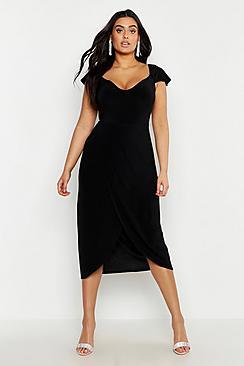 Plus Slinky Cold Shoulder Wrap Midi Dress