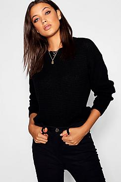 Tall Crew Neck Cropped Jumper