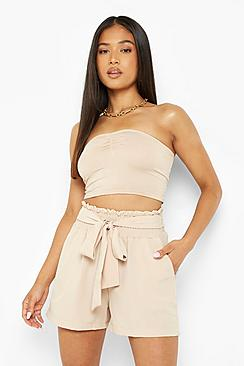 Petite Shirred Tie Front Shorts