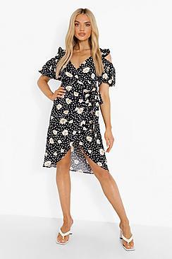 Mixed Print Wrap Front Midi Dress