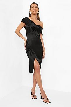 One Shoulder Midi Bridesmaid Dress