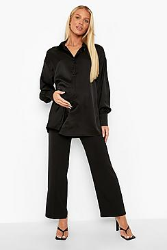Maternity Woven Pleated Tailored Trousers