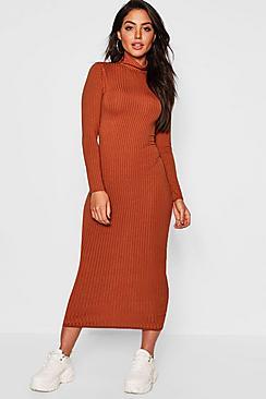 Jumbo Rib Roll Neck Midi Dress