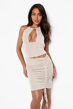 Slinky Cut Out Rouched Mini Dress